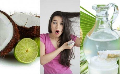 Cómo controlar la caída del cabello con un tratamiento de agua de coco y limón