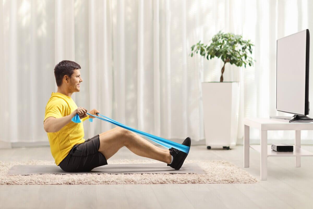 Banda elástica para realizar ejercicios.