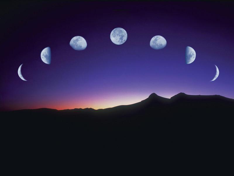 Fases de la luna en un atardecer