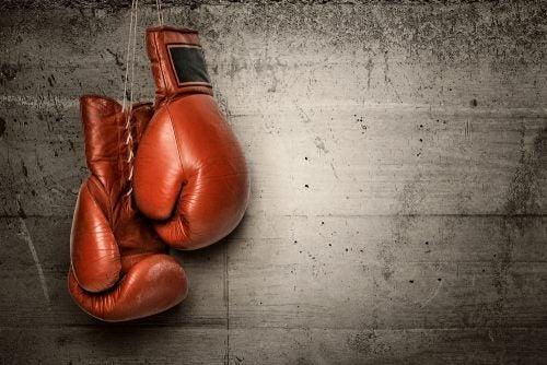 colgar los guantes de boxeo