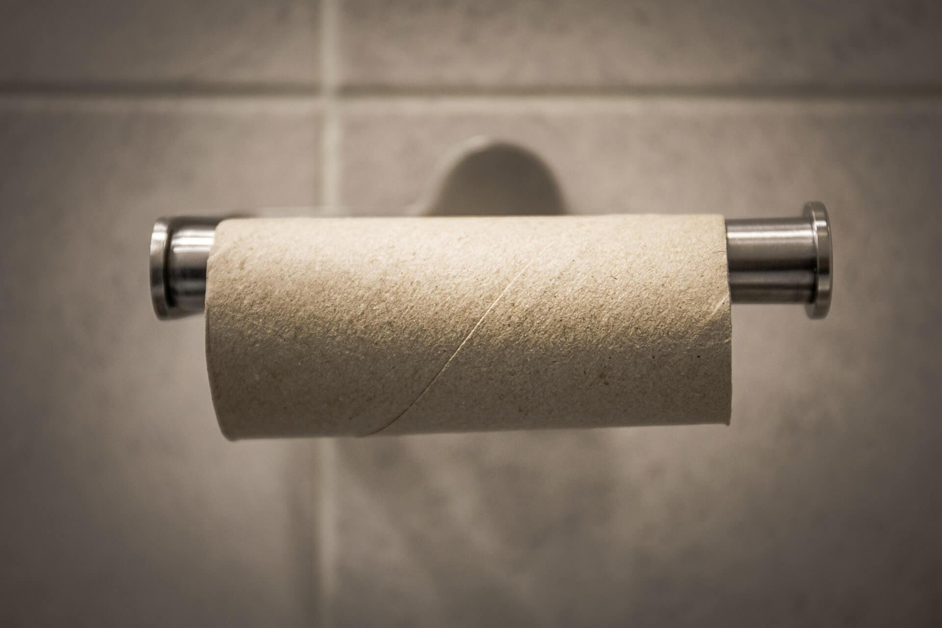 Tubo de cartón de papel higiénico.