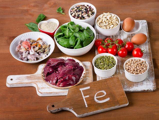 Alimentos que contienen hierro.