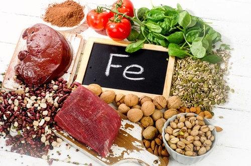Alimentos con hierro y una pizarra con la leyenda Fe