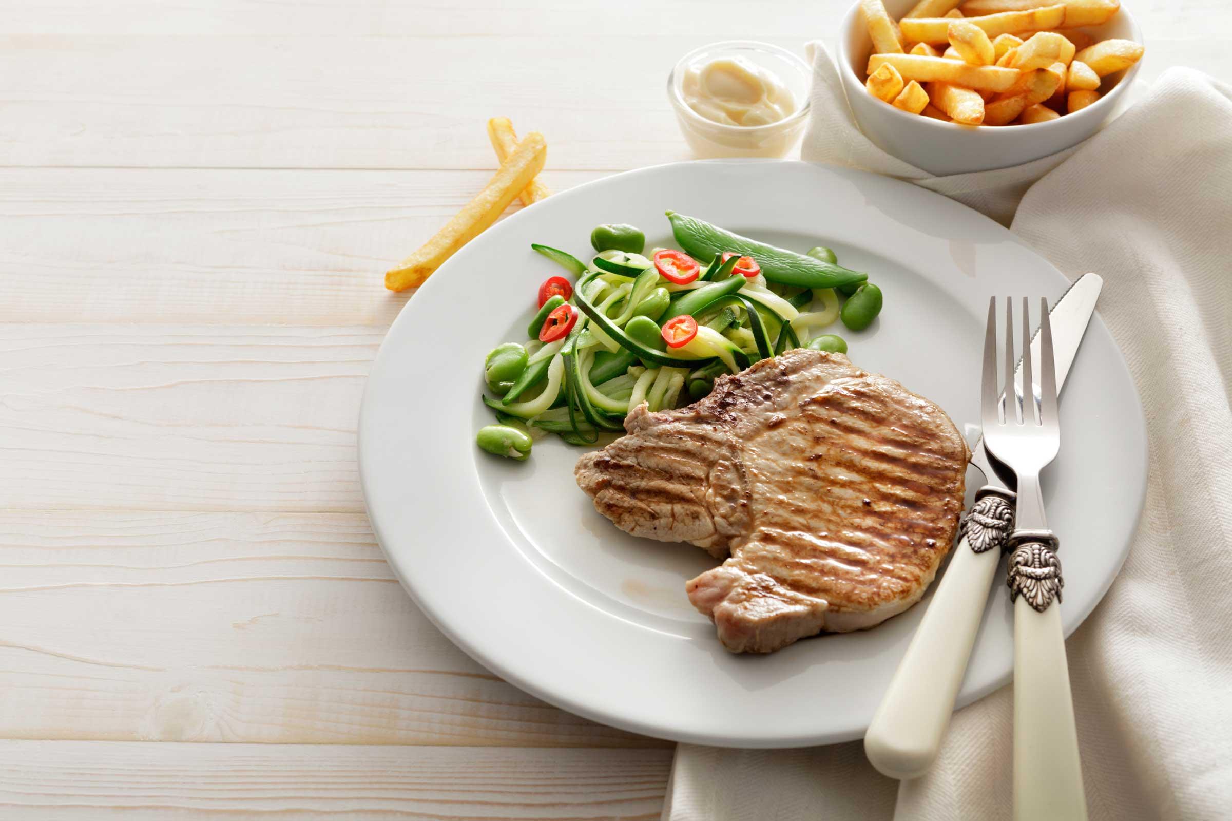 Plato con verduras y carne magra