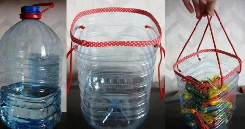 reuse plastic bottles and make them into baskets