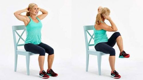 Knee lift with push in to eliminate abdominal fat