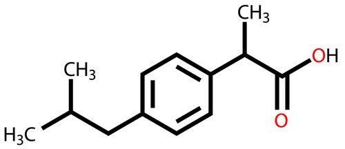Estructura química del ibuprofeno con el oxígeno carboxílico en rojo