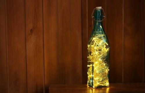 botella con luces