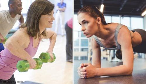 ejercicios para brazo y pecho en el gym