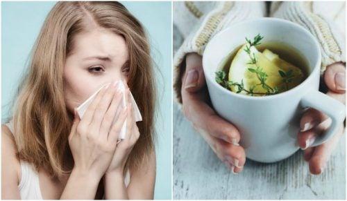 Alivia la tos y el resfriado con una infusión de tomillo, limón y miel