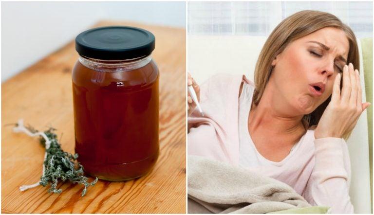Jarabe de tomillo y regaliz para aliviar la tos