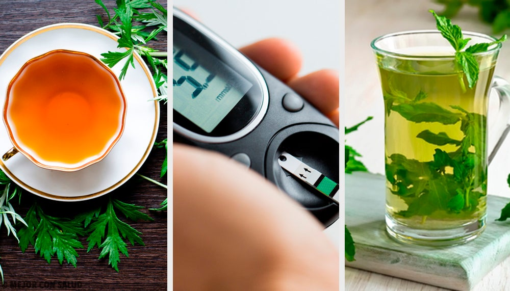 Infusión de ajenjo, menta y estevia para regular el azúcar y eliminar líquidos