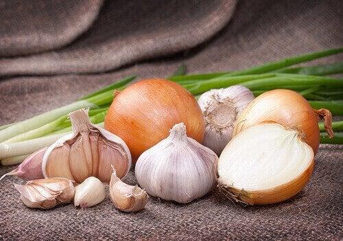 Cebolla y ajo para elaborar infusión contra la picazón de garganta