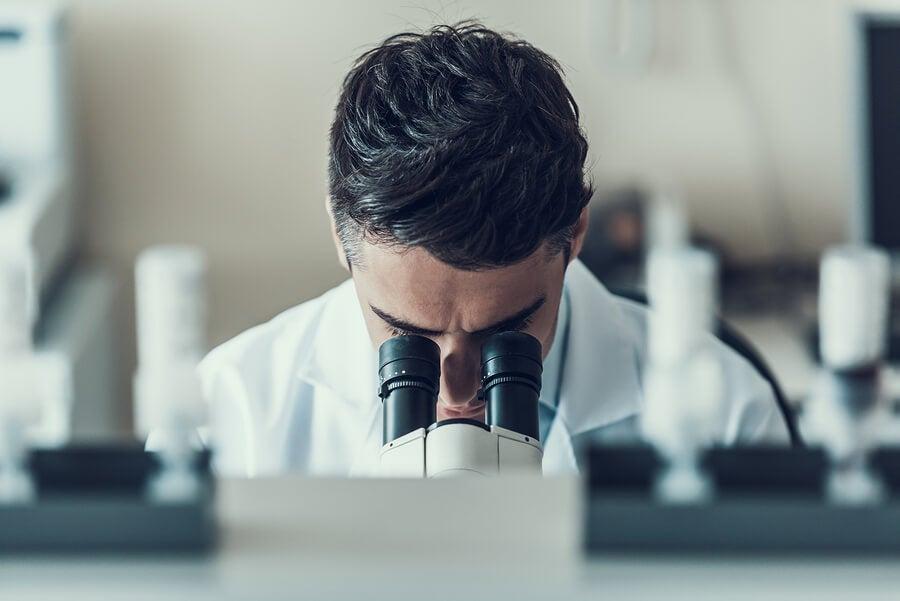 Hombre analizando muestras de heces.