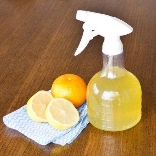 Limpiador en un pulverizador y naranjas
