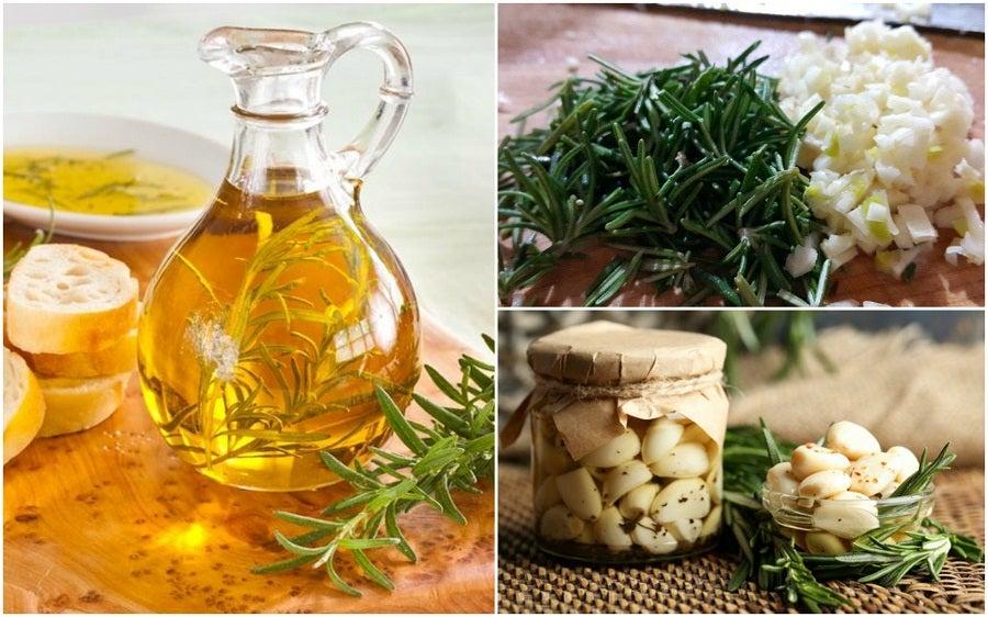 Cómo preparar un aceite aromatizado de romero y ajo