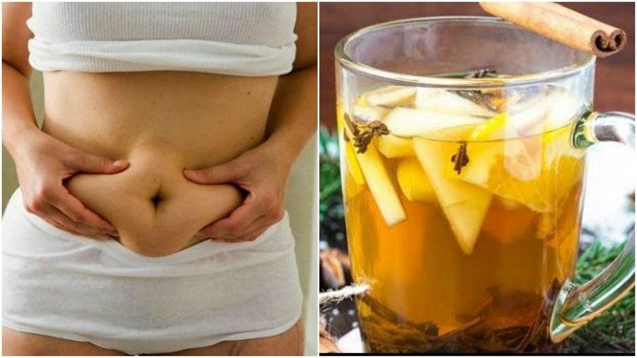 Bebida de té verde, piña y canela para perder peso