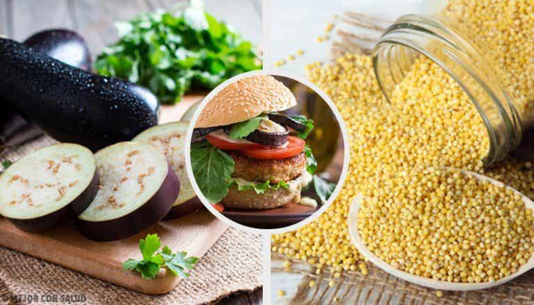 Deliciosas hamburguesas veganas de mijo y berenjena