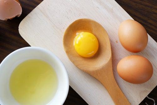 Huevos, clara y yema de huevo.