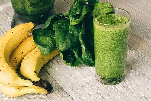 Plátano y espinacas