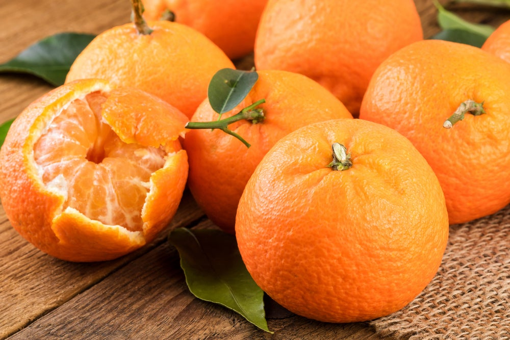 frutas y verduras de otoño: mandarina
