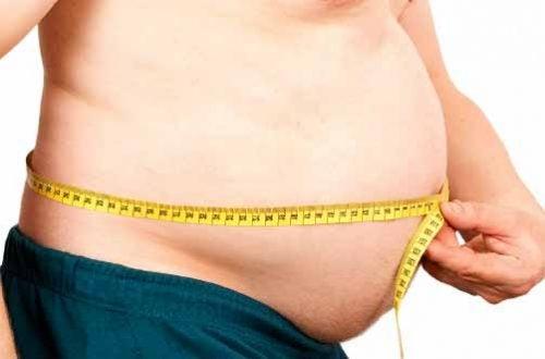 Hombre con obesidad midiéndose la cintura
