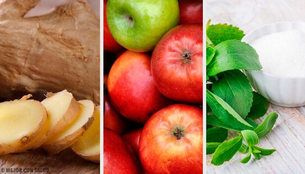 Bebida de jengibre, estevia y manzana para compensar los excesos