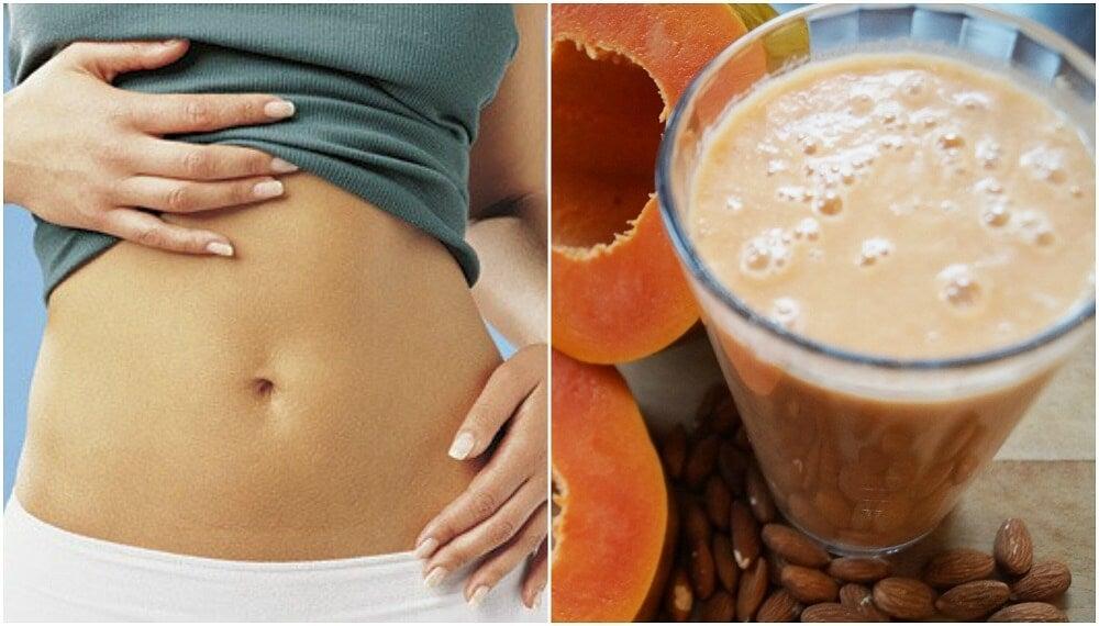 Batido digestivo de papaya y leche de almendras