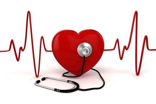 Representación de un corazón con estetoscopio.