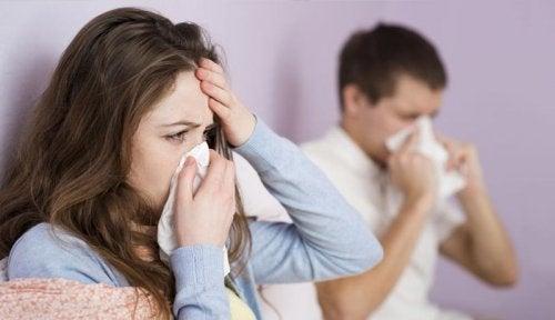 Pareja con gripe