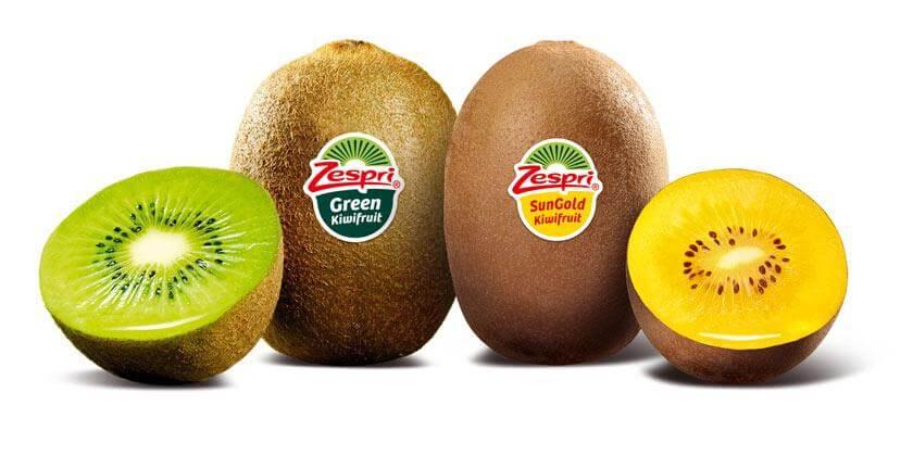 Kiwi verde y amarillo.