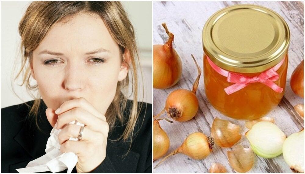 Remedio casero con miel y cebolla para calmar la tos