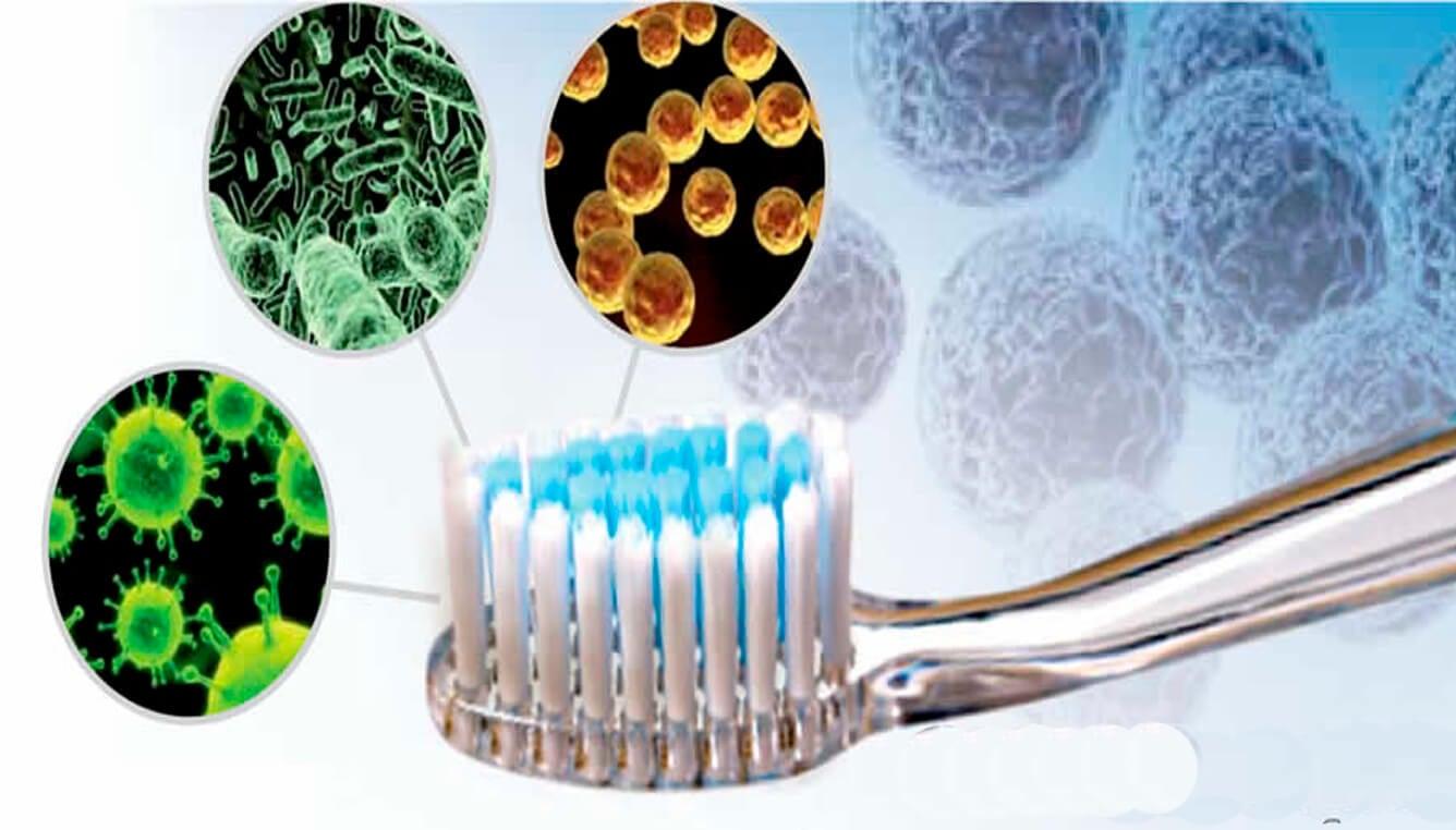 Cepillo de dientes con bacterias.