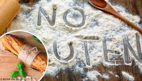 """""""No gluten"""" escrito en harina"""