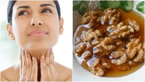 Tratamiento casero de miel y nueces para cuidar la salud de la tiroides