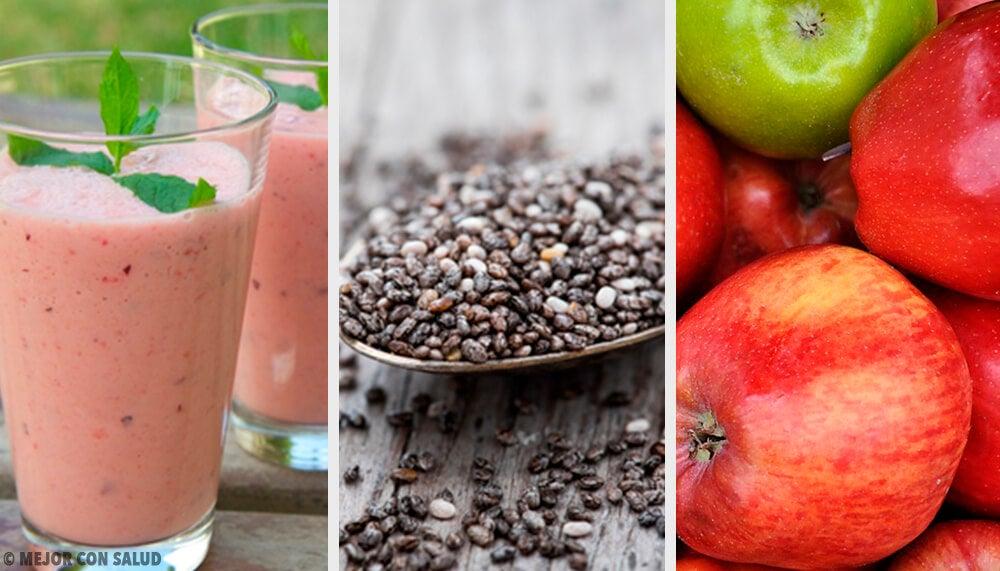 Batido de ciruela, chía y manzana para regular el intestino