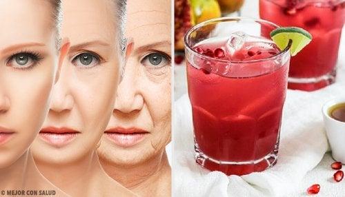 Jugo antioxidante y rejuvenecedor de uva, granada y moringa