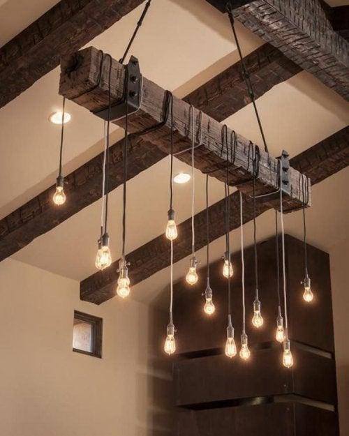 La iluminación es importante para la decoración rústica.