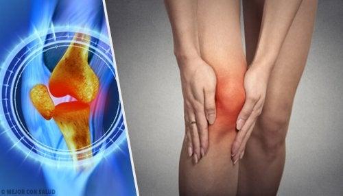 Recreación digital de rotura de menisco y rodilla inflamada