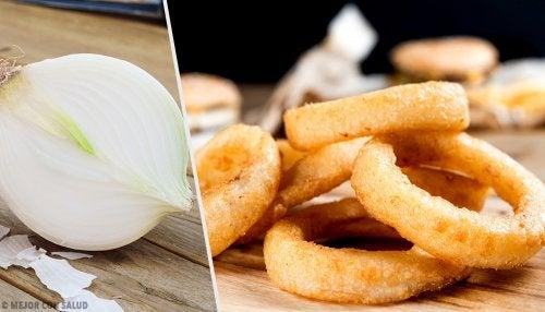 Deliciosos aros de cebolla rellenos de queso