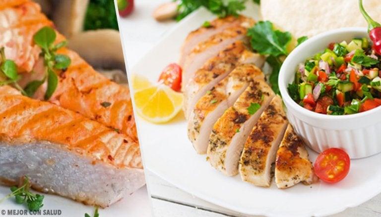 El pollo y el salmón, los favoritos en una dieta saludable
