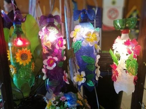Lámparas con botellas de plástico