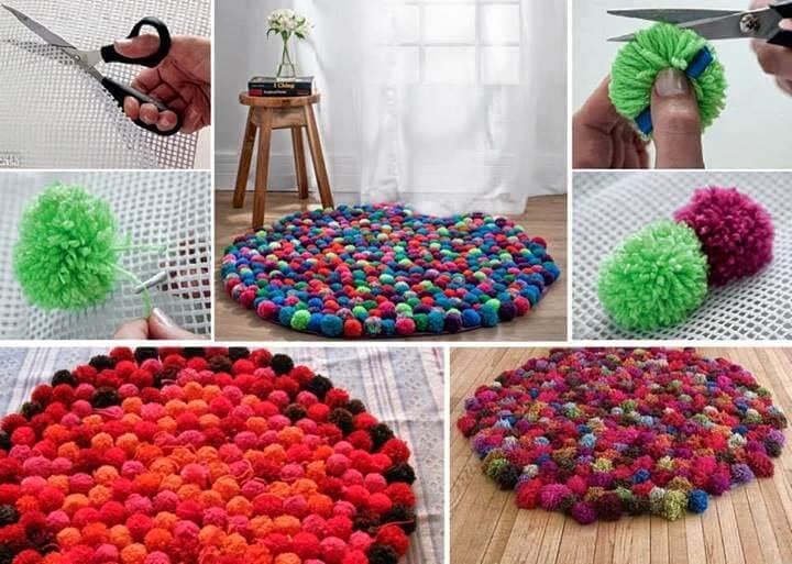 Tapetes con pompones de lana