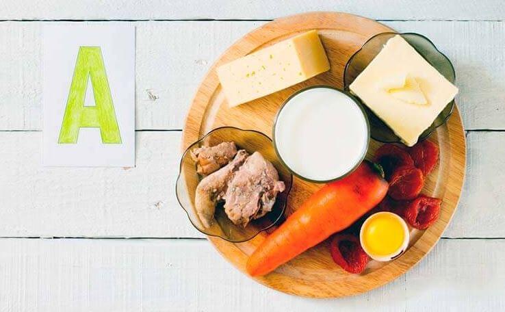 Alimentos ricos en vitamina A.
