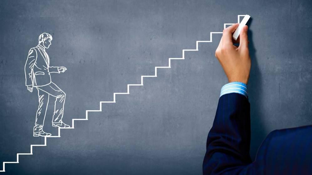 Dibujar una persona subiendo por una escalera.
