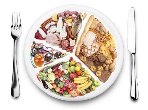 Plato con reparto de alimentos