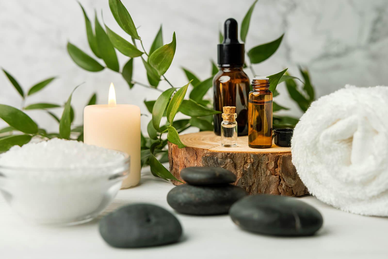 Elementos para hacer un masaje.