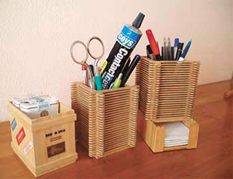 palos de paleta para el escritorio.