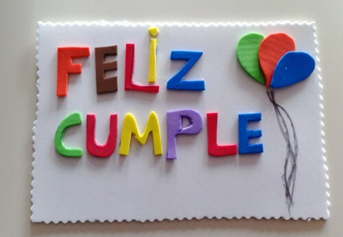 Tarjetas de cumpleaños con foamy