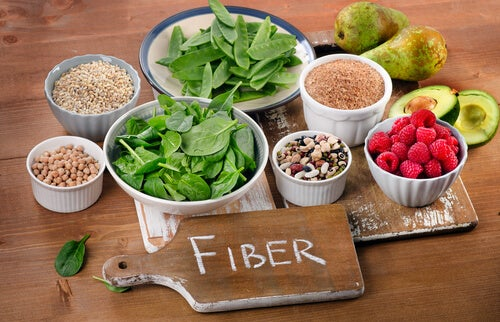 Food with fiber.